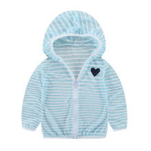 2021 Children's Striped Hooded Sun Protection Clothing Summer Autumn Baby Boys Girls Travel Thin Coat Kids Beach Jacket Outwear