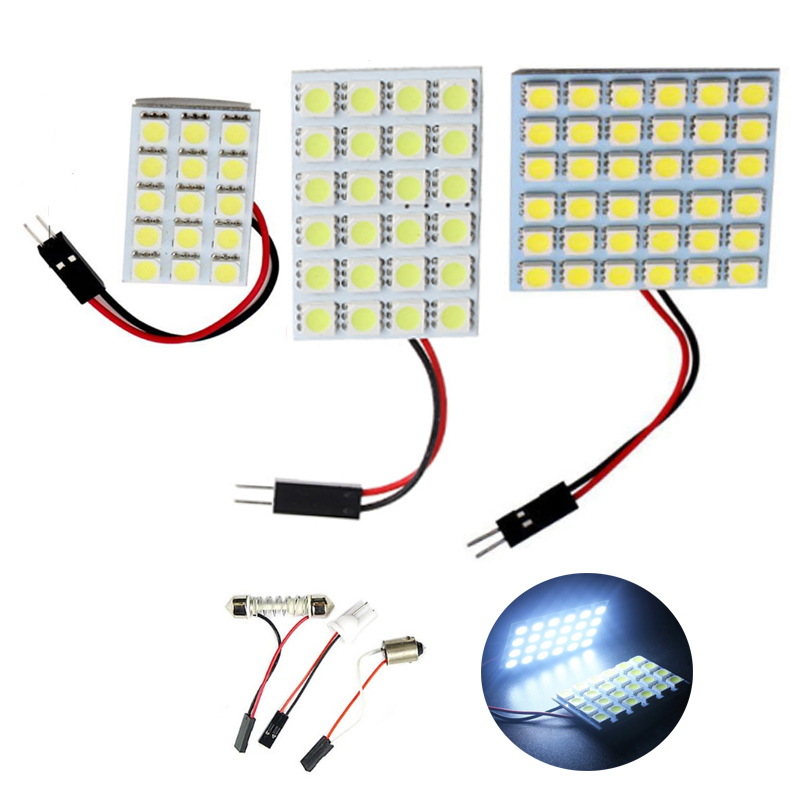 <font><b>10</b></font> sets Car LED Dome Roof Reading Map Light 6 9 12 15 24 36 48SMD <font><b>5050</b></font> Auto Interior Lights Bulb T10 Adapter Festoon Base DC 12V image