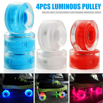 4pcs Luminous Light Up Roller Skate Wheels with Bearings Roller Skates Accessories ALS88