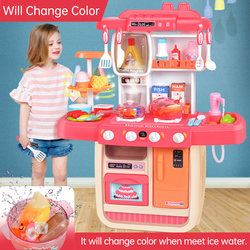 New Big Size 38 Pcs Novelty toy change color Pretend Play Toy Kitchen Set Plastic With Light Smog Cooking Play Food Cart ToyD232