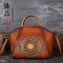 Sac à main femme Totem en relief sacs en cuir femme une épaule en cuir pleine fleur rétro frotter couleur sac fourre tout