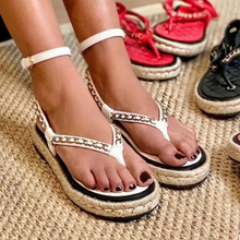 Metal-Chain Women Shoes Flat Sandals Hemp-Rope-Platform Ankle-Strap Flipflop Hot Sheep