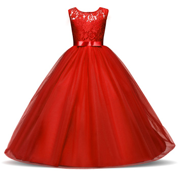 New Princess Lace Dress Kids Flower Embroidery Dress For Girls 14T Formal Ball Gown 5