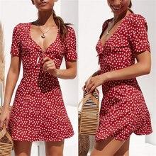 Женское мини платье с цветочным принтом v образным вырезом и