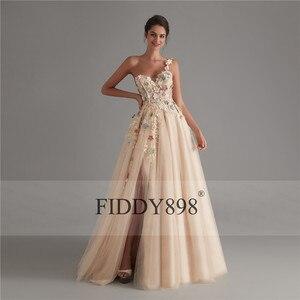 Image 5 - New 2019 Evening Dresses Long with Slit One Shoulder Beaded Flower Evening Gown Formal Party Dress Vestido de Fiesta de noche