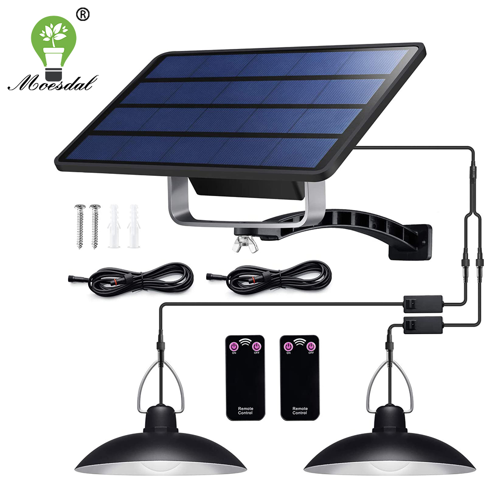 Luz colgante Solar de doble cabeza impermeable IP65 lámpara Solar de Interior para exteriores con Cable adecuado para Patio, jardín, interior, etc.