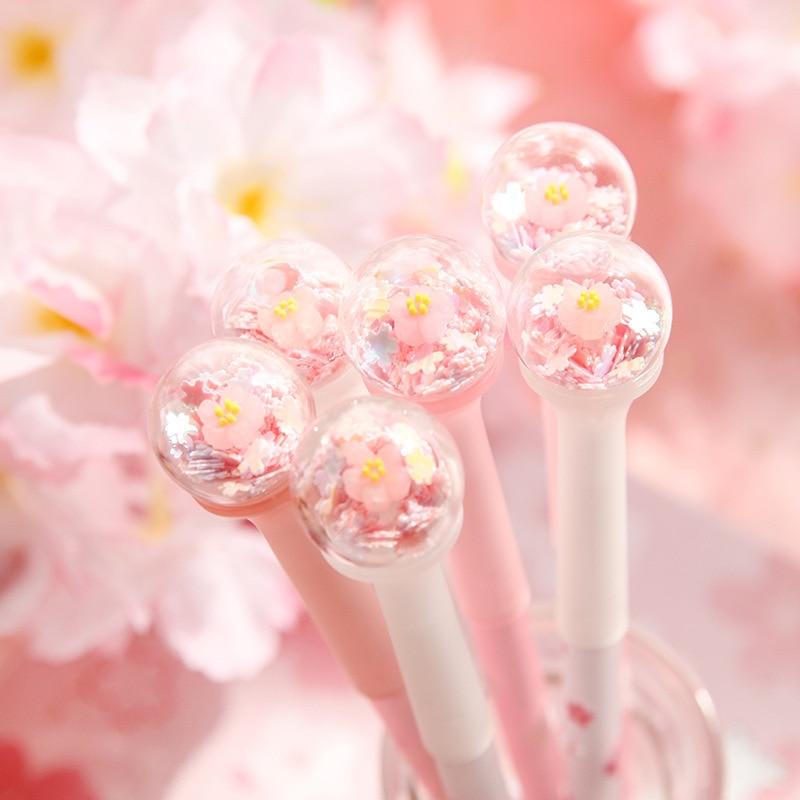 Japanese Cherry Blossom Gel Pen Cute Super Cute And Beautiful Pen Girl Heart Burst Pen Stationery Black Water Pen Signature Pen
