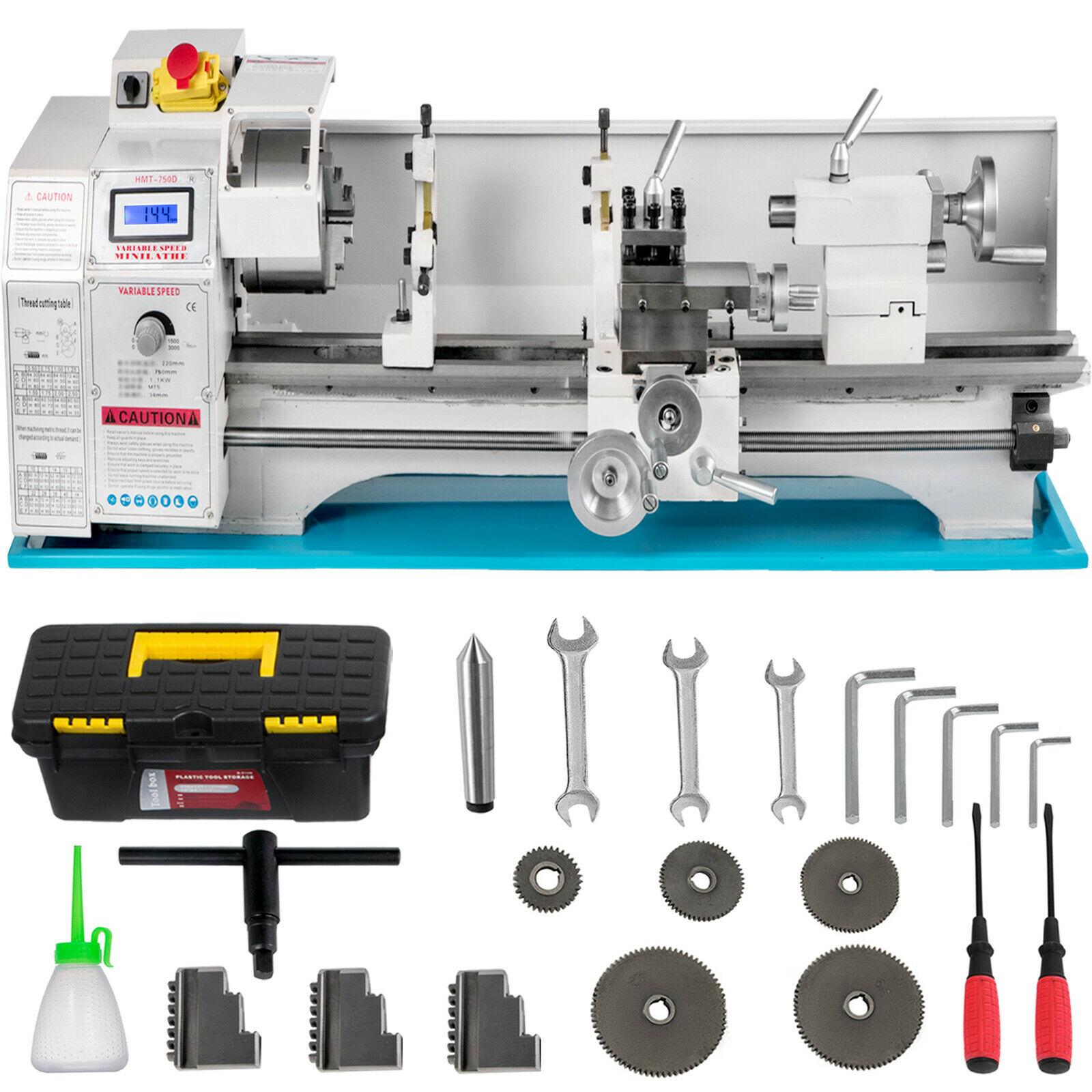 Free Shipping Mini Tornio Per Metallo 1100W 220*750 Mm Macchina Lavorazione Da Banco