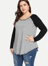 все цены на Plus Size Womens Stripe Round Neck T-shirt Top Ladies Long Sleeve Casual Tees Baggy Top Ladies T Shirt Spring Tops онлайн