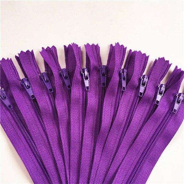 10 шт. 3 дюйма-24 дюйма(7,5 см-60 см) нейлоновые застежки-молнии для шитья на заказ нейлоновые молнии оптом 20 цветов - Цвет: purple