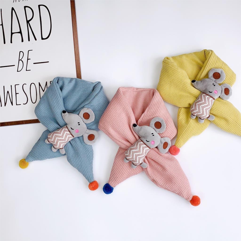 Winter Cute Children Scarf Boy Girls Scarves Baby Cotton Fur Collar Scarf Cartoon Neck Warmers Neckerchief