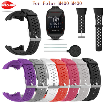 цена на Soft Silicone Wrist Strap Replacement for Polar M430 fashion Smart Sport Watch Band with Tools Wristband for Polar M400 Bracelet