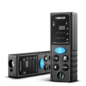 DEKO 50-100M Handheld Laser Distance Meter with LCD Display and Bubble Level