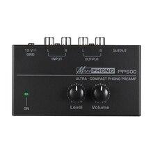 Préamplificateur Phono Ultra Compact Pp500 avec contrôles de niveau et de Volume entrée et sortie Rca Interfaces de sortie Trs 1/4 pouces, E