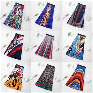 Image 2 - 2020 Spring New Fashion Europen Cartoon Print Elasticity Stain Pleated skirt High Street Style A line Mid Calf Skirt Femile