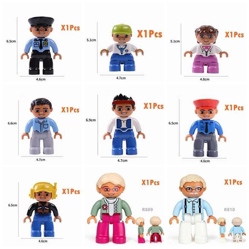 Legoing Duplo Building Blocks figurki rodzina pracownik policja rolnik kompatybilny Duploed Animal Train DIY edukacja zabawka dla dziecka Kid