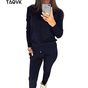Image 5 - TAOVK Womens knitted Suits Spring sweater set Mid Line Turtleneck Pullover Sweater Pants two pieces Sets warm Jogging Costumes