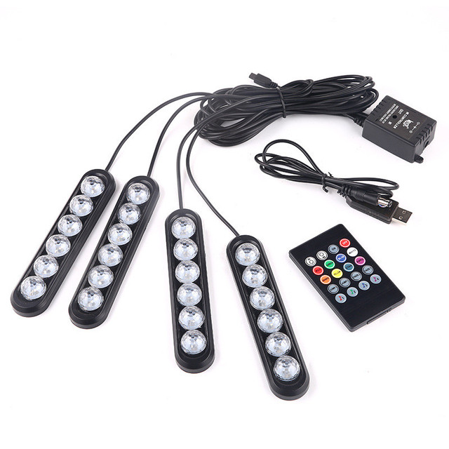 4*6 LED RGB Car Interior Atmosphere Strip Light for BMW G01 G30 F11 F15 F31 F34 E36 E39 E46 E60 E87 E91 X5  X6 Decoration Lamp