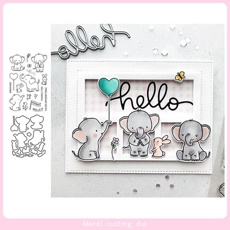 Elephant Friends Stamp And Metal Cutting Dies DIY Scrapbooking For Photo Album Decorative Silicone Clear Stamps 2019 Winter