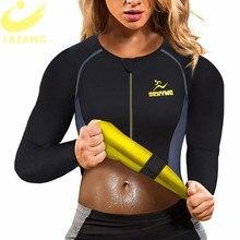 LAZAWG Women Hot Sweat Weight Loss Shirt Neoprene Body Shaper Sauna Jacket Suit Workout Long Training Clothes Fat Burner Top