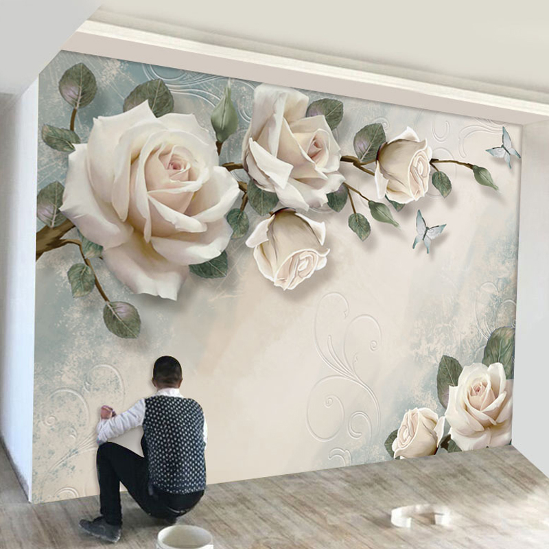 Modern Minimalist Mural Wallpaper European Style White Flowers Oil Paintings Photo Wall Murals Living Room Backdrop Home Decor
