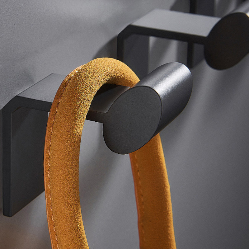 Black Coat Hook Space Aluminum Wall Hook Kitchen Bathroom Hanger Towel Hook For Hotel Waterproof Bathroom Hardware