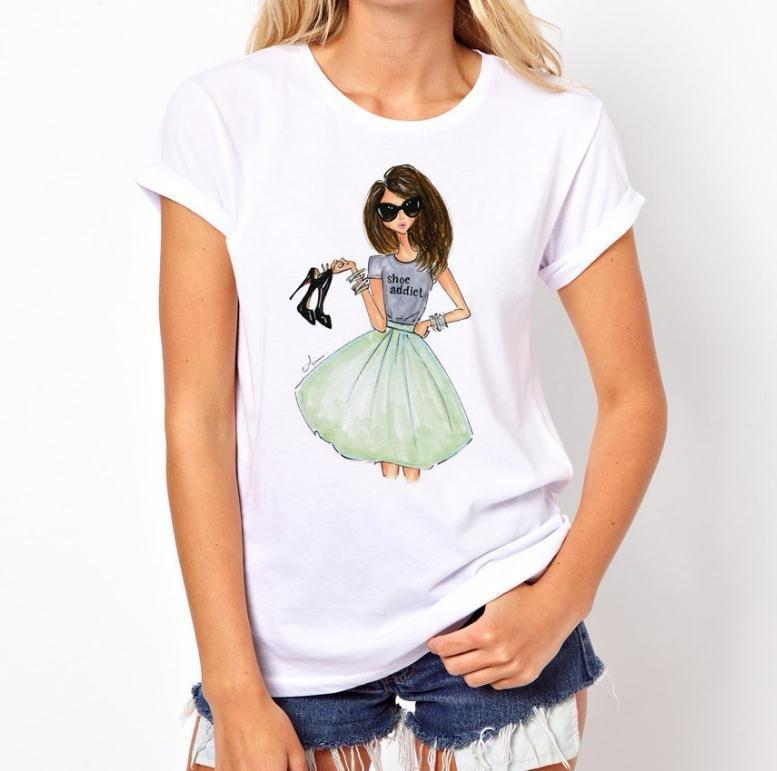 Talla grande XS-4XL nueva camisa Verano Mujer 2019 sección delgada camiseta Vogue carta Mujer moda Mujer camiseta