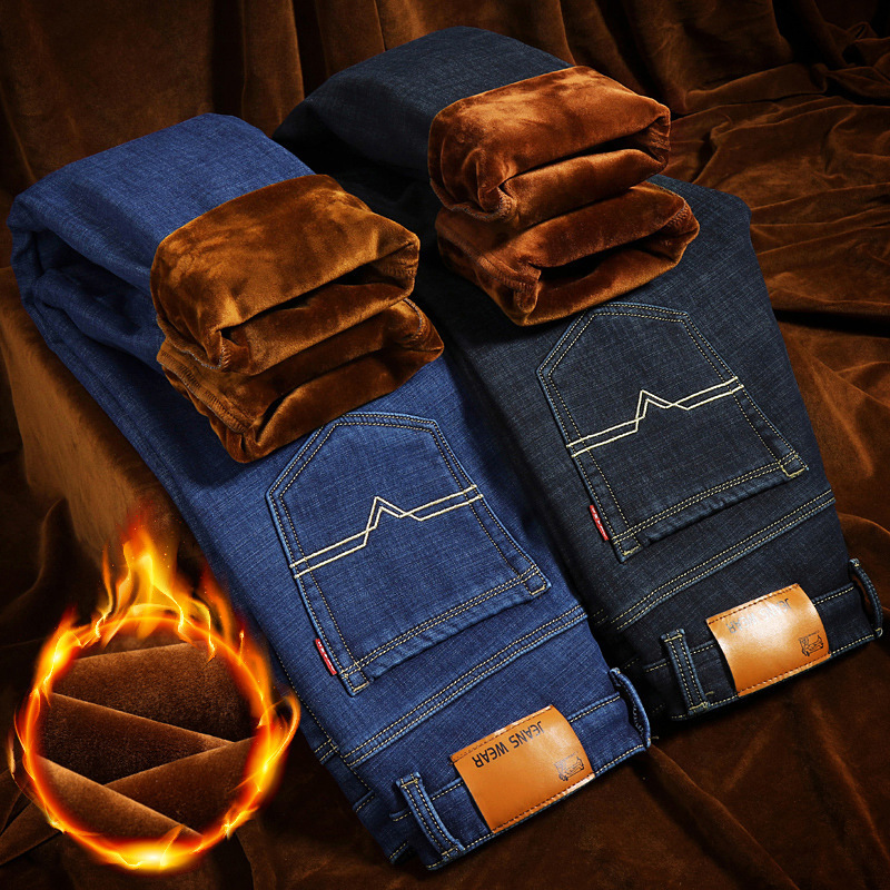 Straight-Cut Loose-Fit Jeans Men's Autumn And Winter Brushed And Thick Men Casual With Velvet Warm Plus Cotton Pants Men's Winte