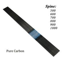 Eixo de flechas de carbono puro, 500 peças, tiro ao alvo id4.2mm, 30 polegadas, sp400 600, 700, 800, 900, 1000, arco longo recurvado de tiro