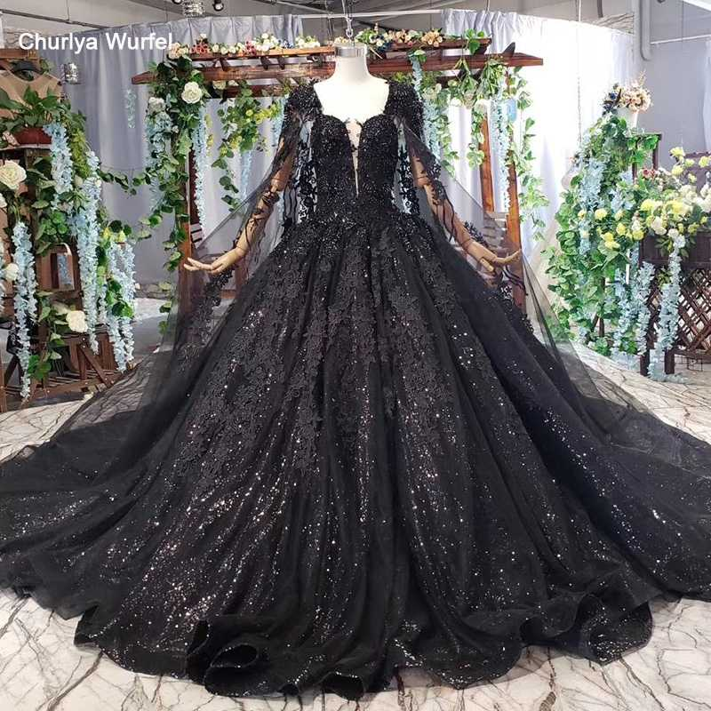 HTL440G women evening dress long black square neck handwork bead appliques lace long evening gowns with cape abiye gece elbisesi