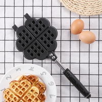 Home Heart shaped Egg Waffle Cake Mold Cake Pan Nonstick Double Side Biscuits Muffin Mould Pot Bakeware Breakfast Baking Tools