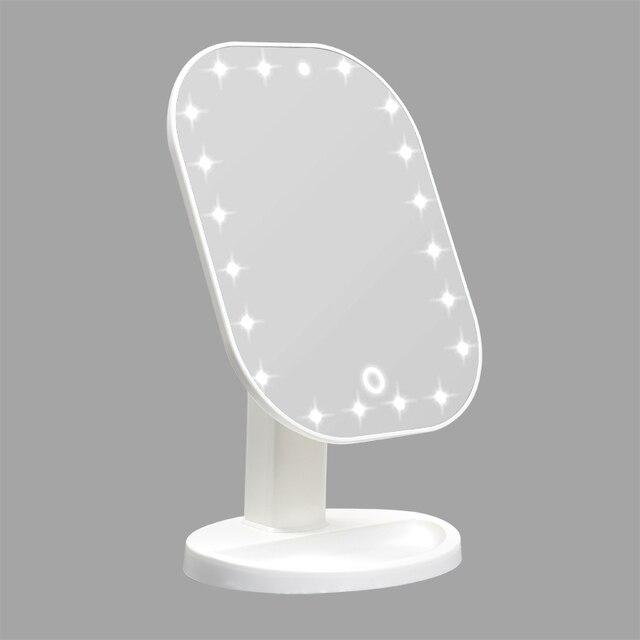 مرآة فاخرة مع 20 LED أضواء 180 درجة طاولة قابلة للضبط مرآة لوضع مساحيق التجميل لمسة باهتة LED مرآة شاشة تعمل باللمس مرآة لوضع مساحيق التجميل