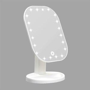 Image 1 - タッチ調光器とledミラータッチスクリーン化粧鏡高級ミラー 20 ledライト 180 度調整可能なテーブル化粧鏡