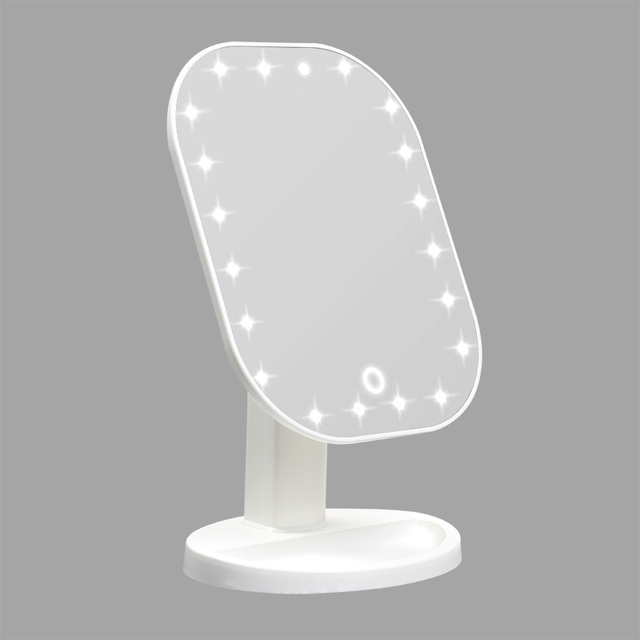 タッチ調光器とledミラータッチスクリーン化粧鏡高級ミラー 20 ledライト 180 度調整可能なテーブル化粧鏡