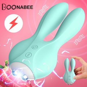 12 Frequency Dual Motor Rabbit Vibrator Sex Shop Vaginal G-Spot Massager Electric Shock Female Masturbator Sex Toy for Couples