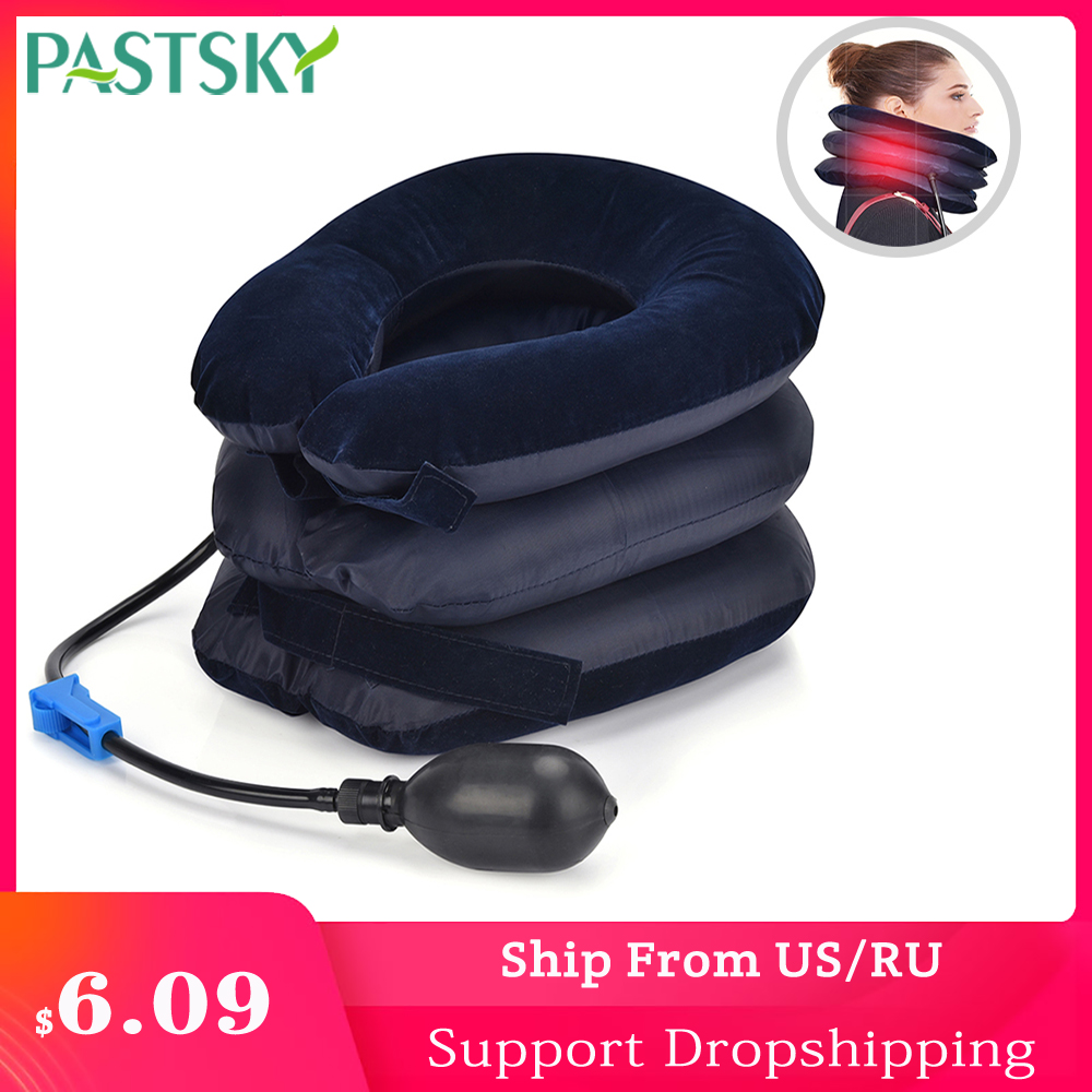 Neck Medical Devices Orthopedic Traction Pillow 3 Layer 1 Tube Neck Collar Pain Relief Stretcher Blue Brown