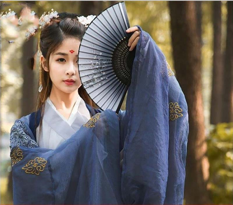 Women Hanfu Chinese Ancient Traditional Outfit Kimono Female Halloween Cosplay Costume Fancy Dress For Women Blue Plus Size 2XL
