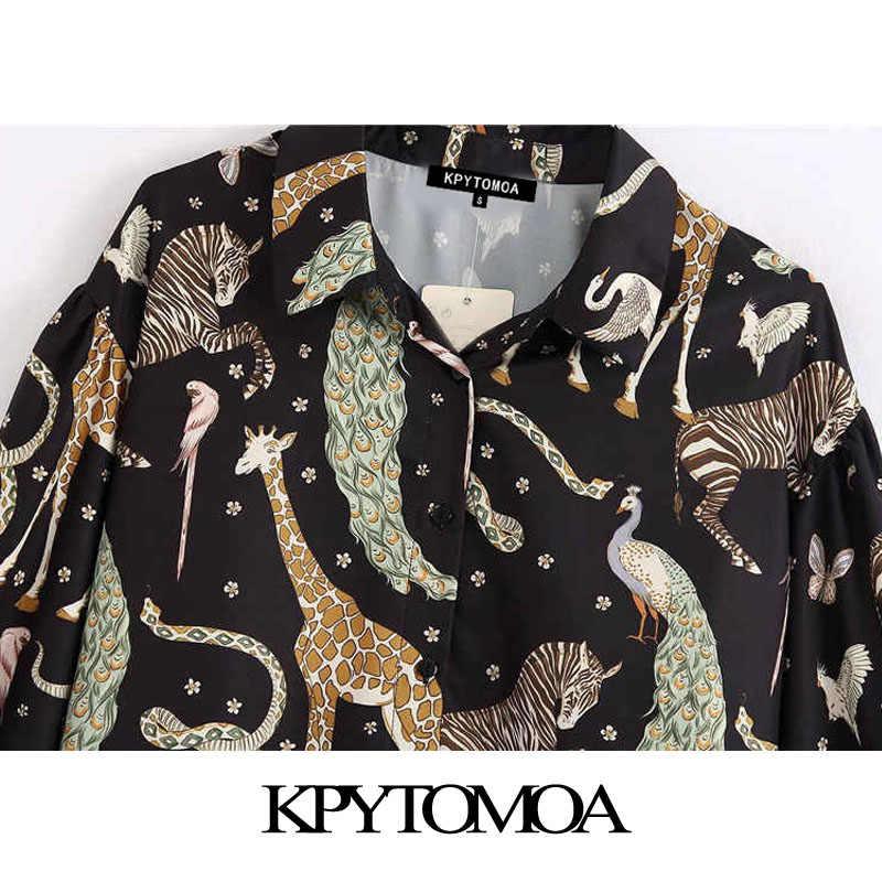 KPYTOMOA Women 2020 빈티지 패션 동물 무늬 블라우스 옷 깃 칼라 긴 소매 사무복 여성 셔츠 Blusas Chic Tops