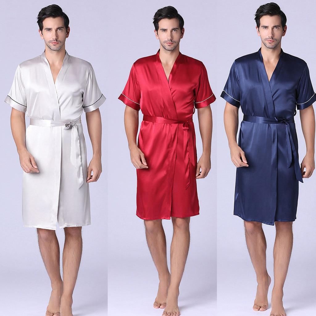 Men Bathrobe Silk Kimono Long Sleeves Robe Home Service Silk Pajamas Men Gown Solid Bathrobe Men Homewear Masculina 2019
