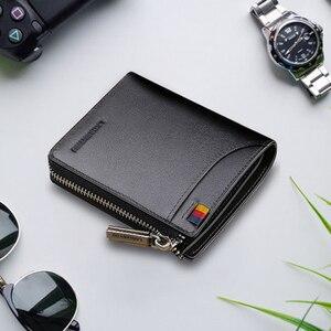 Image 2 - Мужской короткий кошелек LAORENTOU, Черный Повседневный бумажник из натуральной кожи, на молнии, с отделением для монет,