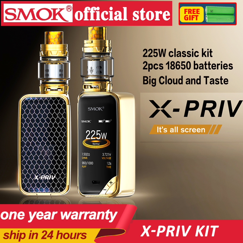 New Stocks Of SMOK X-PRIV Kit With 8ml Of TFV12 Prince Tank Vaporizer 225W X PRIV Mod Electronic Cigarette SMOK VAPE Kit