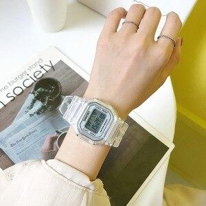 Image 5 - Moda mężczyzna kobiet zegarki złoty Casual przezroczysty zegarek sportowy cyfrowy zegarek kochanka zegar na prezent wodoodporny zegarek dziecięcy dla dzieci
