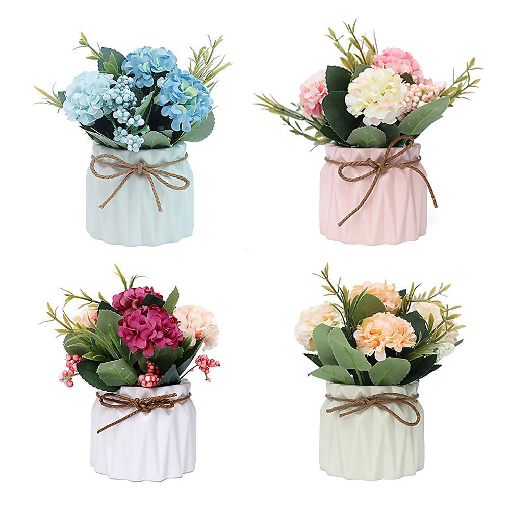 Fiori Di Ortensia Secchi us $8.35 5% di sconto|fiori di ortensia artificiali di simulazione di fiori  finti bianco artificiale vaso di bacino di ceramica ortensia