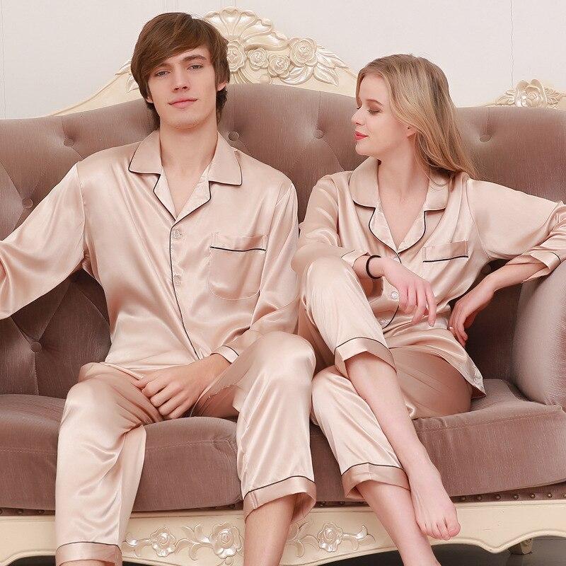 New Simulation Silk Couple Pajamas Silk Long-sleeved Men's Pajamas Home Service Large Size Suit Pijamas Para Parejas Couple Set
