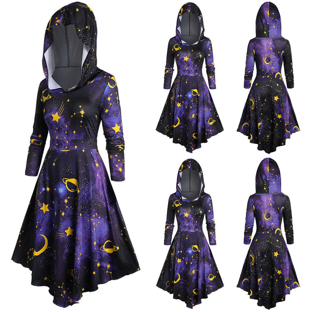 WOMAIL Cape Dress Women Plus Size Long Sleeve Hooded Starry Galaxy Print Autumn Winter Casual Cloak Dress Vestido 19Sep27