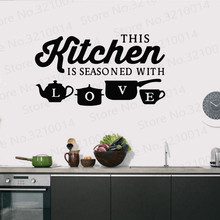 Kitchen is Seasoned With Love Letter Pattern Wall Sticker PVC Removable Home Decor DIY Wall Art Mural Decal PW327 halloween proverb letter removable wall sticker