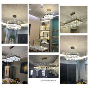 Image 2 - Luxury rectangle crystal chandelier lighting for dining room kitchen island lamps hanging modern chrome led chandeliers