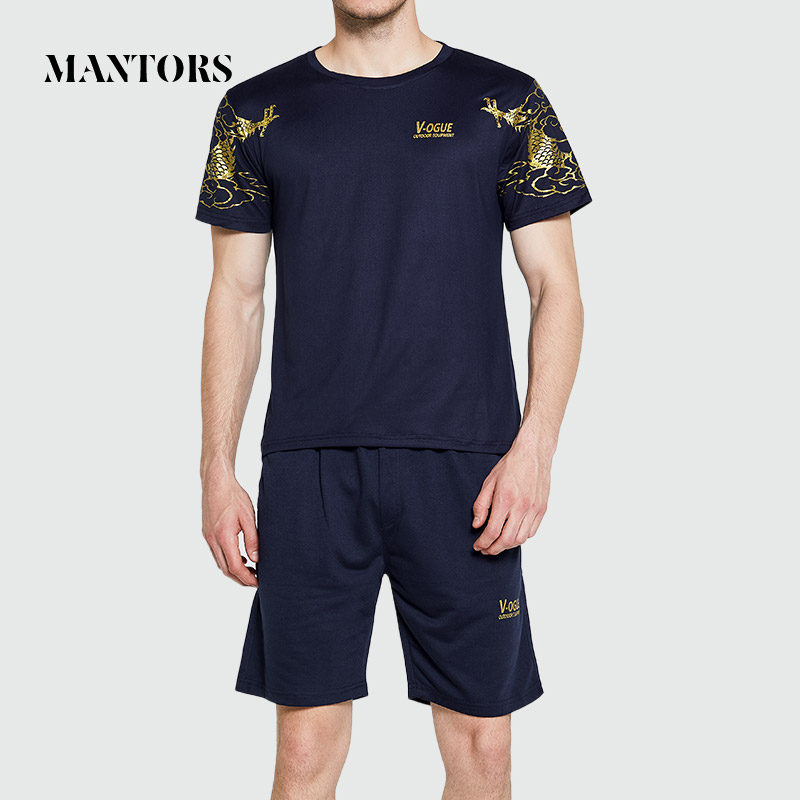 Men Tracksuit Sets Casual 2020 New Mens Sportswear Set Clothing Summer Print Shorts + Tee Shirt Male Sweat Suit 2 Pieces Fitness