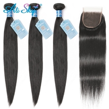 Ali Sky 4pcs per lot Peruvian Straight Human Hair Weaves 3 Bundles with 1pc 4x4 Lace Closure Three Part Remy  No Tangle
