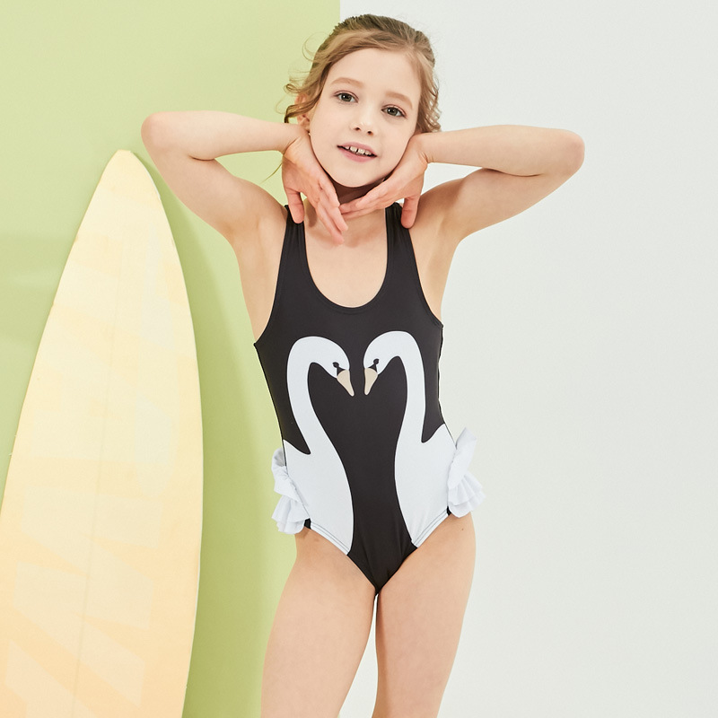 Spring And Summer New Style Flamingo Bathing Suit CHILDREN'S Swimsuit Set Cartoon Black Swan GIRL'S Swimsuit One-piece Swimwear